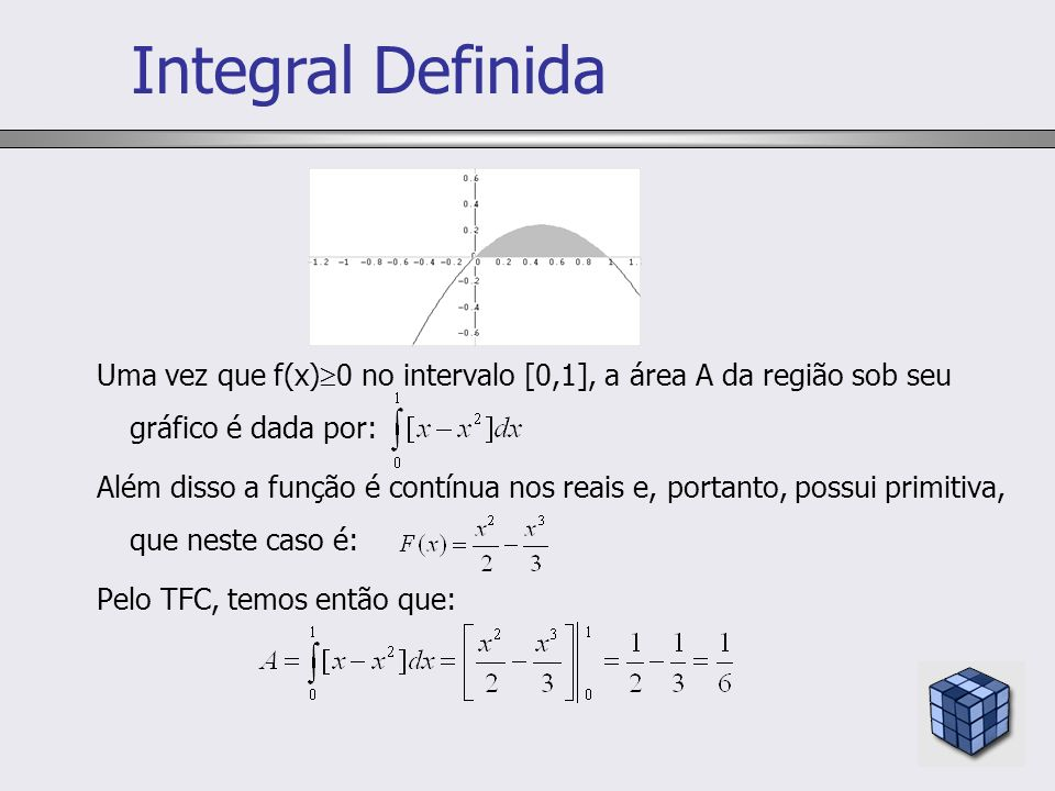 Integral DefinidaUma vez que f(x)0 no intervalo [0,1], a área A da região sob seu gráfico é dada por: